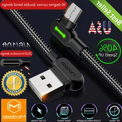 L-Shape Nylon Braided Micro USB Charging Cable Fast Charger