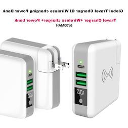 Multi Global Travel Charger+Wireless Charger+Power Bank 3 in
