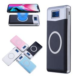 NEW 900000mAh Power Bank Qi Wireless Charging 2 USB LED Port