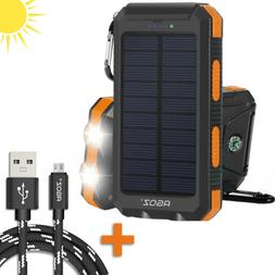 Portable Solar Power Bank Dual USB + Braided Micro Charger C