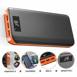 Power Bank 20000mAh 3 USB Quick Charge 3.0 External Battery
