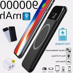 Power Bank 900000mAh Qi Wireless Battery Backup Fast Chargin
