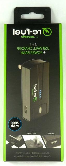 Power Bank/Wall Charger, 1-Amp USB, Re-Fuel RF-2600 2600mAh