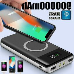 Qi 900000mAh Power Bank Wireless Charging 2USB LCD Charger P