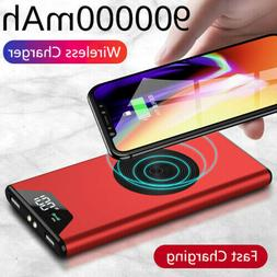 Qi Wireless Power Bank 500000mAh 2 USB Portable Backup Exter
