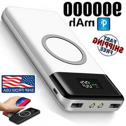 Qi Wireless Power Bank 900000mAh Backup Portable Charger Ext
