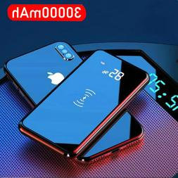 Quick Charge 30000mAh Wireless Power Bank Dual USB Mirror Sc