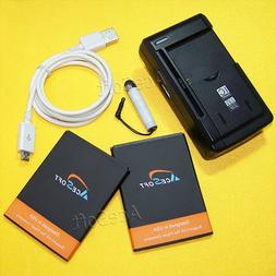 AceSoft 2x 2500mAh Rechargeable Battery Portable USB Charger