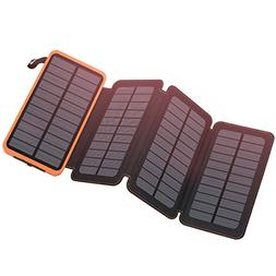 Solar Charger 25000mAh, FEELLE Solar Power Bank with 4 Solar