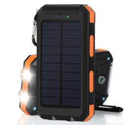 Solar Power Bank 10000mAh External Backup Battery Pack Dual