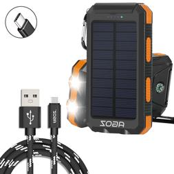 Solar Power Bank 2 Port USB + Agoz Type-C Charger Cable Cord