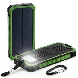 Solar Power Bank 2 USB With LED Flashlight Case Compass for