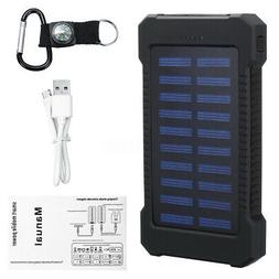 Solar Power Bank 30000mAh Waterproof Dual USB LED External B