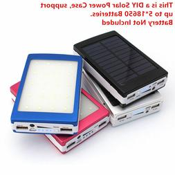 Solar Power Bank 5* 18650 Battery Charger Case Dual USB Box