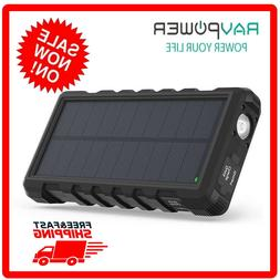 RAVPower Solar Power Bank Phone Charger with 3 USB Ports RP-