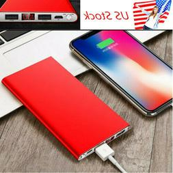 US Ultra-thin 20000mAh Slim Power Bank 2 USB Portable Extern