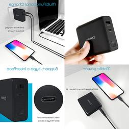 USB C Power Bank 5000Mah Portable Charger & Wall W Dual Fold