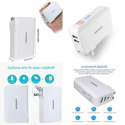 Wall Charger Power Bank Battery Portable 2 In 1 5000Mah W Fo