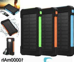 Waterproof 10000mAh Dual USB Portable External Solar Battery