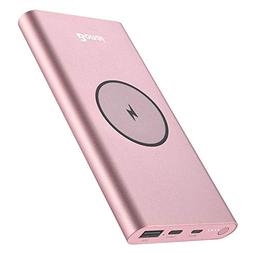 Wireless Charger Power Bank, 2 in 1 BONAI 12000mAh Polymer E